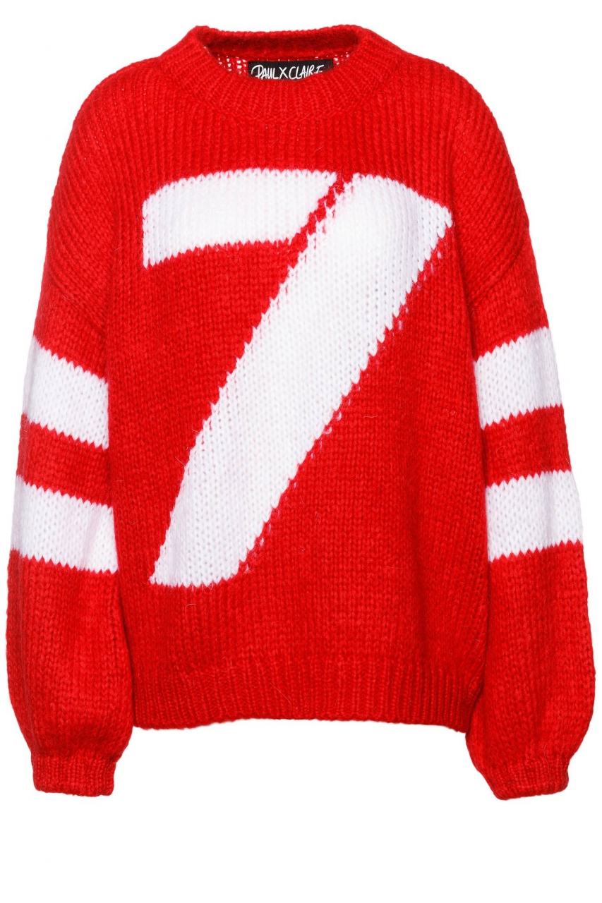 PAUL X CLAIRE Oversized Grobstrick-Pullover Seven Red