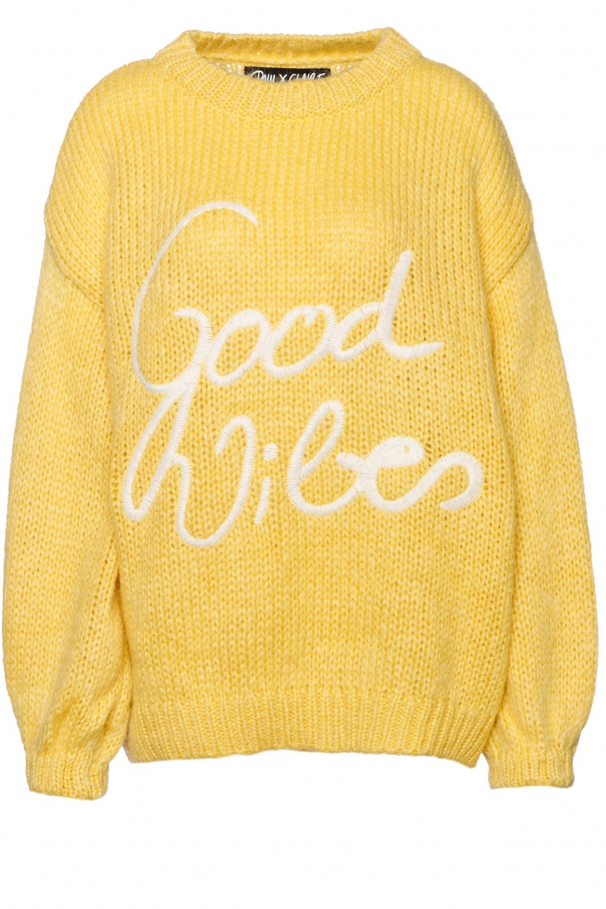 PAUL X CLAIRE Oversized Grobstrick-Pullover Good Vibes mit Schriftzug